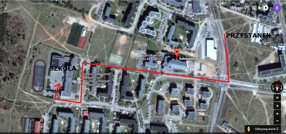 mapa z przystanku do szkoły